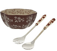 Temp-tations Floral Lace Salad Bowl with Servers - H204209