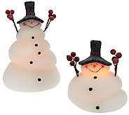 Set of 2 Illuminated Melted Snowmen by Candle Impressions - H205809