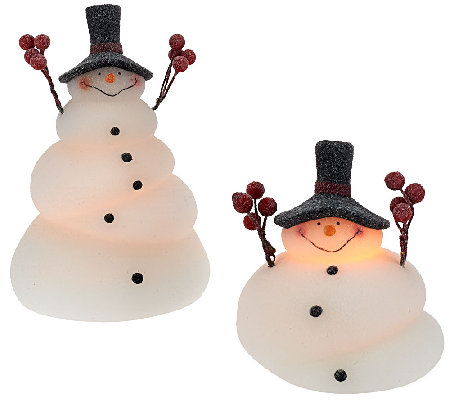 Set Of 2 Illuminated Melted Snowmen By Candle Impressions