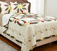 Wedding Ring Star FL/QN 100Cotton Quilt Set with Shams - H205909