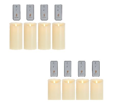 Luminara Set of 4 Ivory Flameless Candles with 4 Remotes - H206009
