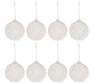 Set of 8 Glass Glittered 4 Ball Ornaments by Valerie - H206309