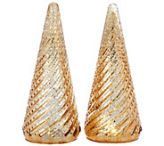 Isaac Mizrahi Live! Set of 2 12 Hobnail Mercury Glass Trees - H207209