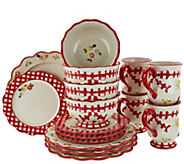 As Is Temp-tations 16-piece Gingham Garden Service for 4 - H210009