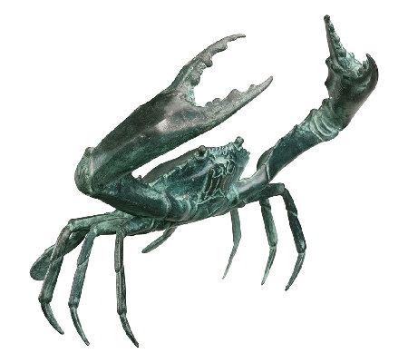 Bronze Crab Sculpture Large Beach Style Garden