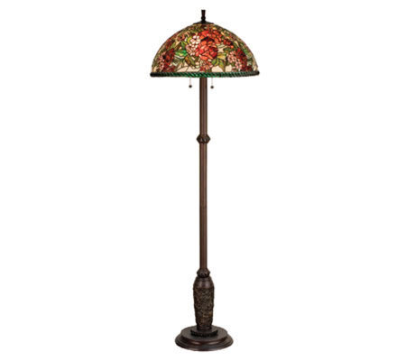 Tiffany style 63 1 2quoth romance rose floor lamp qvccom for Tiffany floor lamp qvc
