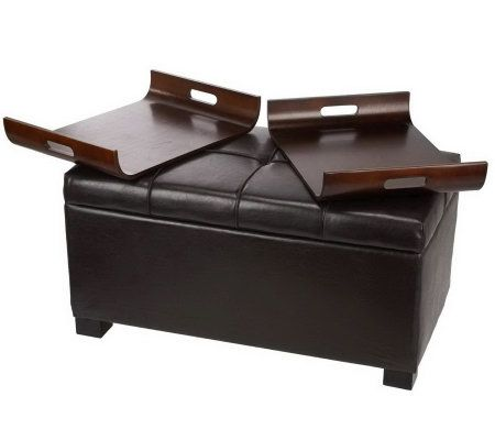 Home Reflections Faux Leather Storage Bench With Two Trays Page 1