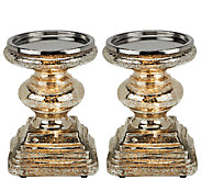 Set of Two Mercury Glass Square Pedestals by Valerie - H203310
