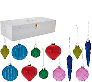 Isaac Mizrahi Live! Set of 12 Glass Ornaments in Wooden Collectors Box - H207210