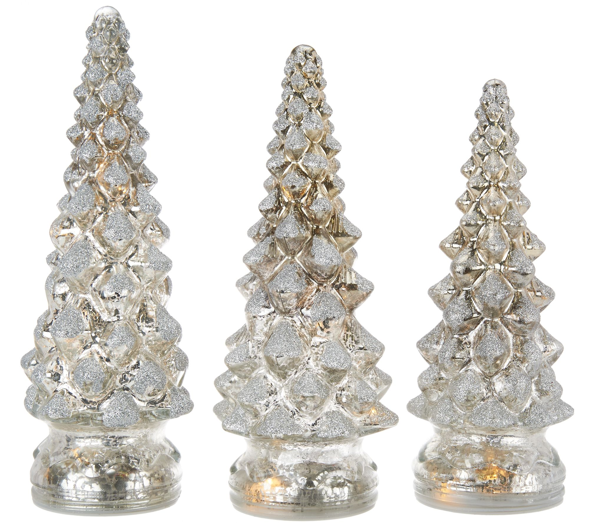 Set of lit twinkling mercury glass trees by valerie