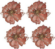 Set of 4 Glitter Magnolia Clips by Valerie - H209510