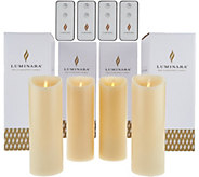 Luminara (4) 8 Flameless Unscented Candles with 4 Remotes - H210510