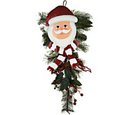 Plow & Hearth Holiday Character with Greens Door Swag - H211610