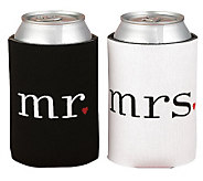 Mr. and Mrs. Black and White Can Coolers - H350610