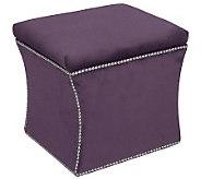 Skyline Furniture Nail Button Velvet Storage Ottoman - H365910