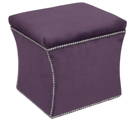 Skyline Furniture Nail Button Velvet Storage Ottoman Qvc Com