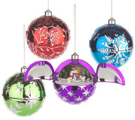 Mr. Christmas Set of 4 Hidden Holiday Scene Ornaments ...