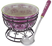 Temp-tations Floral Lace 4.5qt. Bowl w/Wire Stand & Serving Spoon - H204211