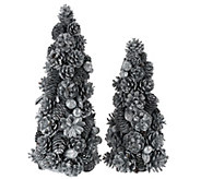 12 and 16 Shimmering Forest Pinecone Trees - H206611