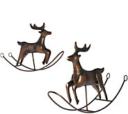 ED On Air S/2 Large & Small Rocking Reindeer by Ellen DeGeneres - H207011
