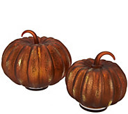 As Is 6 and 8 Illuminated Glass Pumpkin Set by Valerie - H210611