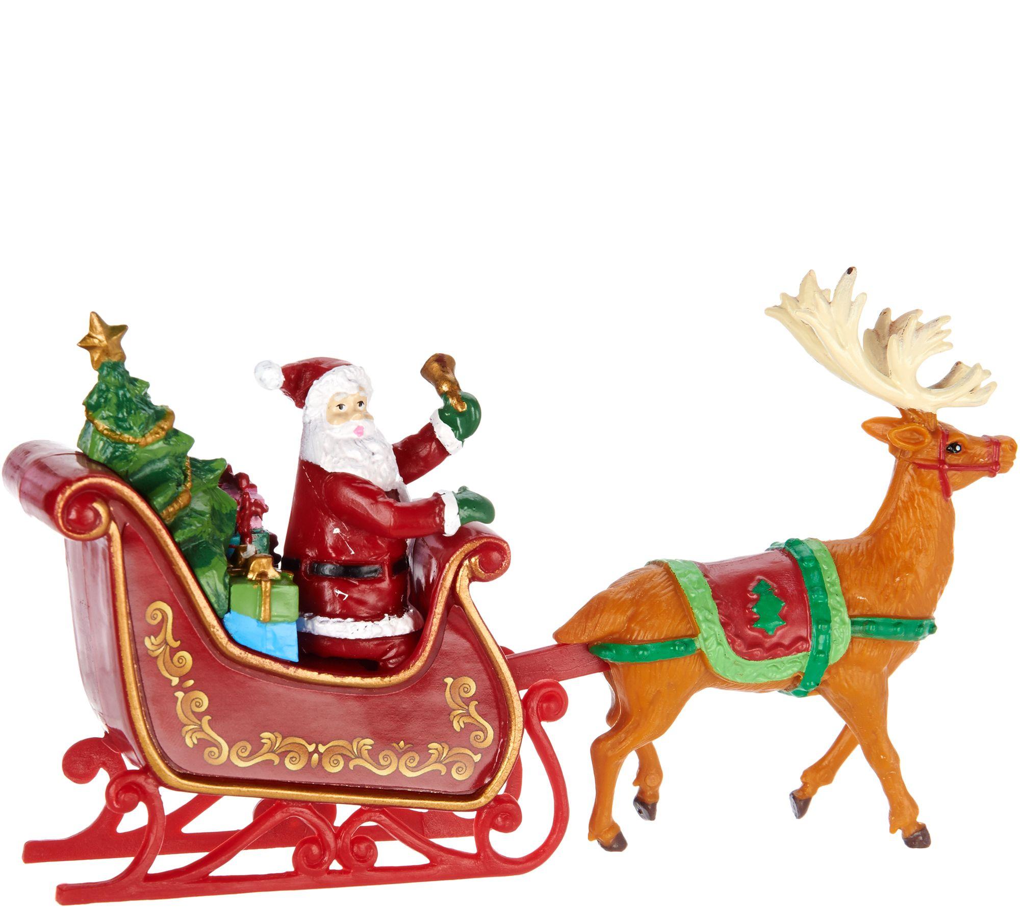 mr christmas animated lit revolving santa u0026 sleigh tree topper
