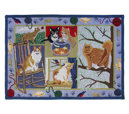 Cat Days 19x27 Tapestry Rug