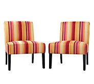 Handy Living Set of 2 Nate Mardi Gras Gold Stripe Chairs - H354311