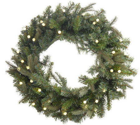 "BethlehemLights BatteryOperated 26"" Pre-lit Wreath with Automatic Timer"