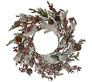 Illuminated Snowy Wreath with Berries and Pinecones by Valerie - H205312