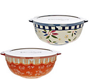 Temp-tations 6 qt Old World or Floral Lace Mixing Bowl w/ Plastic Lid - H206912