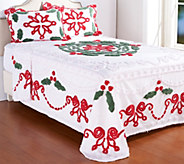 Festive Holly Chenille 100Cotton Bedspread with Sham(s) - H208612