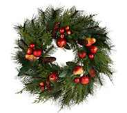 20 Pomegranate and Ornament Mixed Greens Wreath by Valerie - H211912