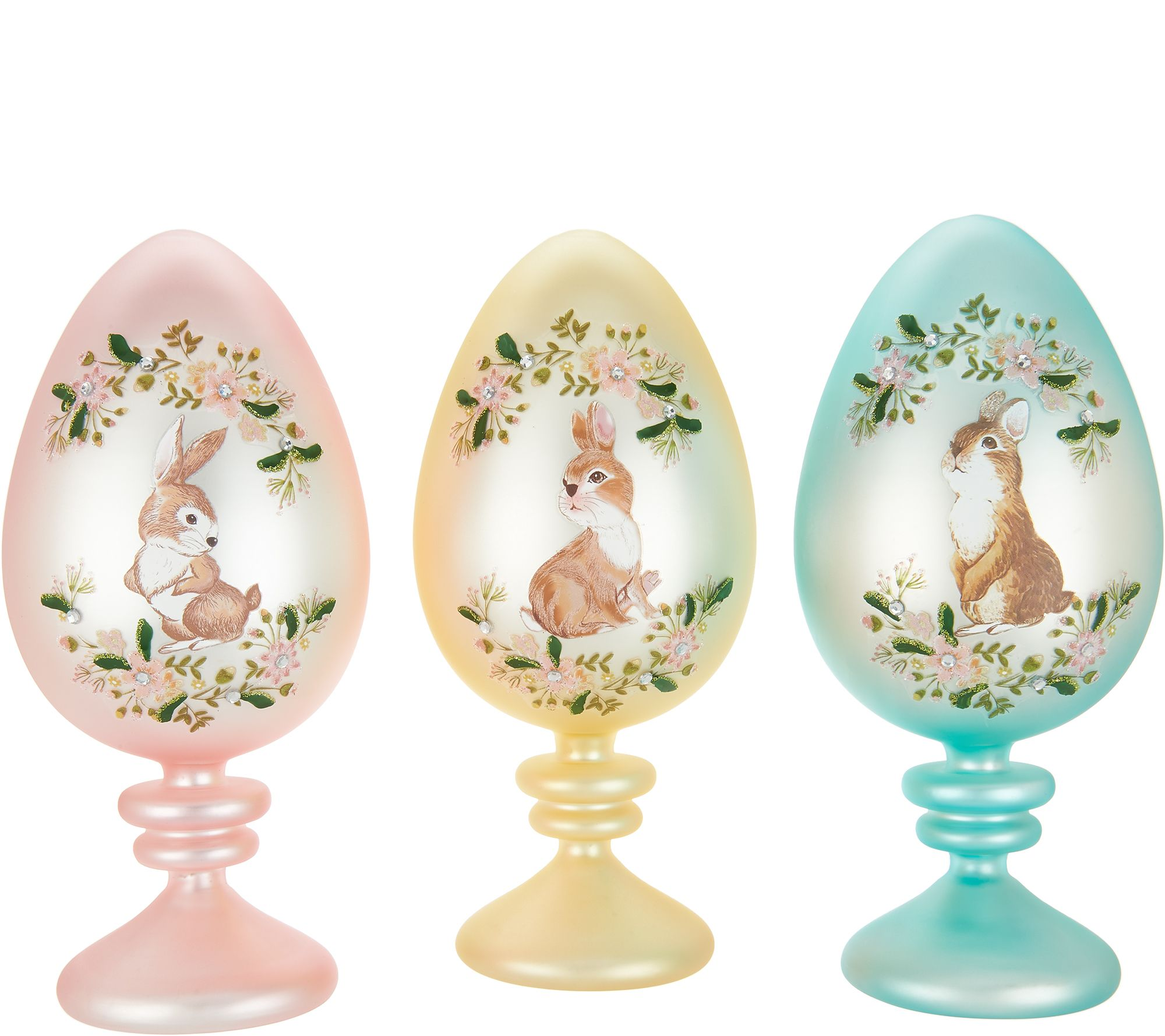 Set of 3 9 eggs on pedestals w decal design by valerie page set of 3 9 eggs on pedestals w decal design by valerie page 1 qvc negle Choice Image