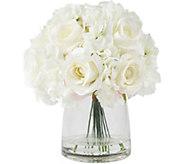 Pure Garden Cream Hydrangea & Rose Floral Arrangement w/ Vase - H291712