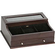 Mele & Co. Hampden Mens Glass Top Valet in Mahogany Finish - H292212