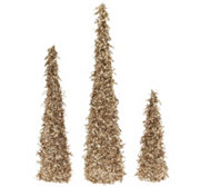 Set of 3 Sequined and Glittered Icicle Trees by Valerie