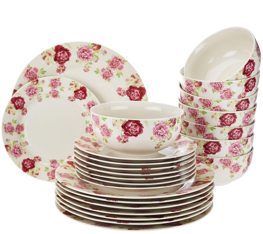 Floral Porcelain Service for 8 Dinnerware Set - Page 1 \u2014 QVC.com  sc 1 st  QVC.com & Gorham 32-pc. Floral Porcelain Service for 8 Dinnerware Set - Page 1 ...