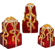 Kringle Express Set of 3 Graduated Illuminated Present Stacks - H209613