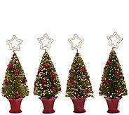 As Is Set of 4 Bottlebrush Tree Placecard Holders by Valerie - H210313
