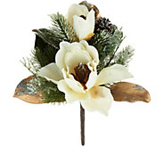 Set of 4 Iced Magnolia and Pinecone Picks by Valerie - H211513