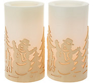 Plow & Hearth S/2 Flameless Candles with Wood Cutout Holiday Scenes - H211613