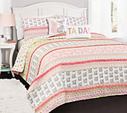 Fox Ruffle Stripe 5-Piece Full/Queen Quilt Setby Lush Decor - H296013