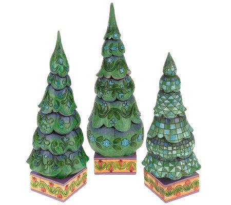 Jim Shore Heartwood Creek Set Of 3 Christmas Trees