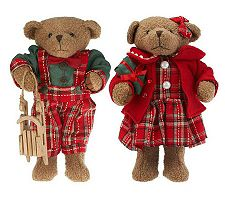 Set of 2 Plaid Bears or Christmas Mice by Valerie