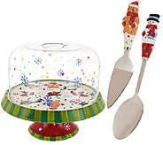 Temp-tations Winter Whimsy Convertible Cake Stand w/ Dome Lid Set - H205114