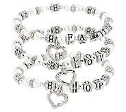 Set of 3 Faith, Hope and Love Bracelets with Gift Bags by Valerie - H205214