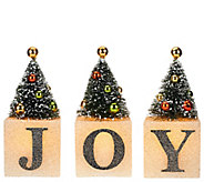 3-piece Illuminated Joy Blocks with Trees by Valerie - H205314