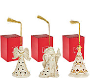 Lenox S/3 Florentine & Pearl Ornaments with Gift Boxes - H205514