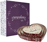 Temp-tations Floral Lace S/3 Nested Heart Lid-its and Gift Box - H206914